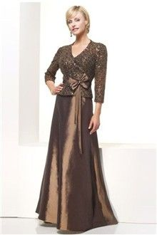 A-Line/Princess V-neck Floor-length Taffeta Mother Of The Bride Dress