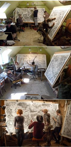 Beehive Design Collective at work #artist #artistatwork #studio Love to see collaboration!