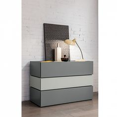 Modern Italian 5 drawer wide chest Maverik by Morassutti | 2 colour chest of drawers | white and grey |