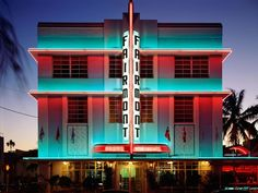 Hotel, Miami Beach    Photograph by H. Mark Weidman Photography/Alamy    Colored lights illuminate the art deco façade of what today is called the Fairwind Hotel, in Miami Beach, Florida. The city's popular South Beach is well known for its art deco architecture, as well as its beaches, nightclubs, and beautiful people.