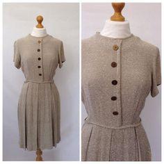 1950's Oatmeal day dress beige womens by DottysVintage on Etsy