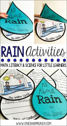 Learn all about rain this spring with over 35 rain activities for kids, including a rain experiment, water cycle experim Water Cycle Craft, Water Cycle For Kids, Water Cycle Project, Water Cycle Activities, Weather Activities, Science Activities, Activities For Kids, Science Experiments, Weather Experiments