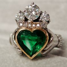 Celtic: The Irish #claddagh ring. The symbols are said to correspond to the qualities of love (heart), friendship (hands), and loyalty (crown).