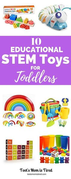 Toys are a hands-on way for toddlers to learn. And they learn best while doing rather than watching. So here are our top 10 favorite educational STEM toys for toddlers for science, technology, engineering, and mathematics. Best Toddler Toys, Toddler Fun, Toddler Snacks, Toddler Gifts, Toddler Activities, Gifts For Kids, Toddler Learning, Infant Toddler, Baby Gifts