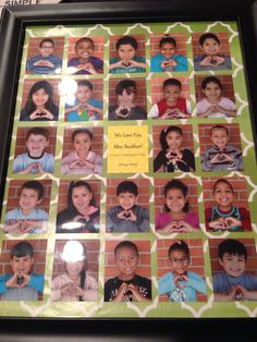 I took photos of each kid in the class making a heart with their hands and mounted it with wrapping paper and a thank you note! Simple but sweet way to show our kindergarten teacher love!