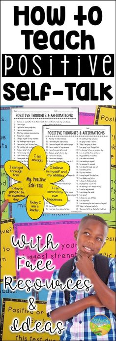 Ways to teach positive self-talk with free resources and ideas A damaged self-esteem can wreck your career and harm your relationships. You can turn your life around by working on your self-esteem, and this guide will give you all the resources you need. Positive Self Talk, Positive Thoughts, Positive Mindset, Positive Affirmations For Kids, Positive Quotes, Affirmations Confidence, Positive Self Esteem, Negative Self Talk, Positive Behavior