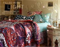 anthropologie bedroom. I like the Moroccan table.