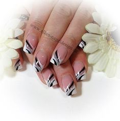 Elegant French Nail Art in silver, black and white ♡: