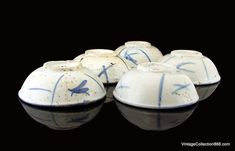 5 old small chinese Bowls for sauces of Swatow Chinese Chinese Tea Cups, Chinese Bowls, Chinese Crafts, Qing Dynasty, Sauces, Illustration Art, Porcelain, Pottery, Ceramics