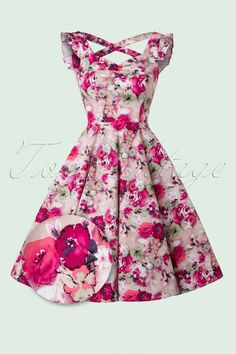 Hearts & Roses ~ 50s Samantha Sun Swing Dress in Pink