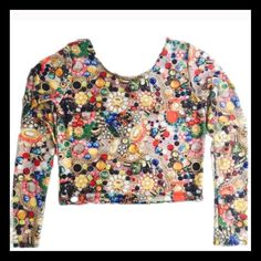 Zara Teraz long sleeve crop top!!  Show Stopper 〰〰🎶🎶🎶〰〰〰💛💜💚❤️Walk into anywhere with this top on and you're automatically the center of attention. It looks like a loads of jewels, a gumball machine; it looks like loads of candy, marbles etc. etc.    It looks like a good time. 〰〰🎶🎶🎶〰〰PERFECTION PERSONIFIED Zara Teraz Tops Crop Tops