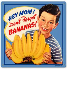 Retro Images of the Week: Grocery Store Banana Display Sign Old Advertisements, Retro Advertising, Retro Ads, Posters Vintage, Vintage Ads, Vintage Photos, Vintage Food, Creepy Vintage, Vintage Humor