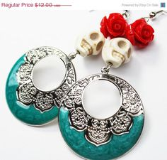 Hey, I found this really awesome Etsy listing at https://www.etsy.com/listing/182917616/on-sale-sugar-skull-hoop-earrings-red