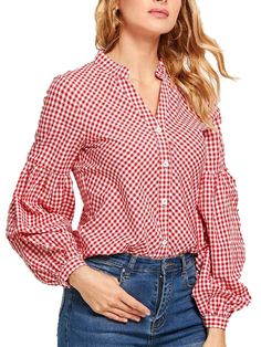 Buy Women's Shirt Gingham Button Puff Sleeve Top & Shirts - at Jolly Chic Fashion Pants, Fashion Outfits, Shirts For Girls, Blouse Designs, Shirt Style, Ideias Fashion, Long Sleeve Tops, Casual Outfits, Haute Couture