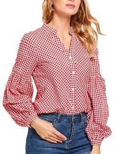 Buy Women's Shirt Gingham Button Puff Sleeve Top & Shirts - at Jolly Chic Fashion Pants, Fashion Outfits, Shirts For Girls, Blouse Designs, Shirt Style, Ideias Fashion, Long Sleeve Tops, Casual Outfits, Polka Dot Blouse