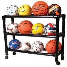 PVC rack for balls, just like a school gym.