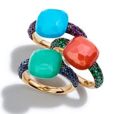 Beautiful Pomellato Rings in amazing colors! I tried on the Chalcedony and Sapphire ring at Moretti's in San Antonio, TX and absolutely LOVED it! It's on my Christmas Wish List!!