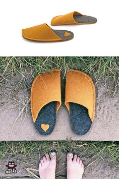 Mustard slippers for your mustard yellow living room decoration. For all mustard home decor lovers. Felted Wool Slippers, Soft Slippers, Wedding Slippers, Kids Backpacks, Womens Slippers, Mustard Yellow, Beyonce, Wool Felt, Stylish