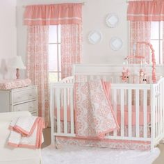 Crib bedding sets make the nursery perfect. Welcome the new arrival with crib bedding sets for girls and crib bedding sets for boys from buybuyBABY. Get sweet baby crib bedding sets - buy now Coral Baby Bedding, Baby Girl Crib Bedding, Girls Bedding Sets, Nursery Bedding Sets, Baby Cribs, Coral Nursery, White Nursery, Cot Bedding, Comforter Sets