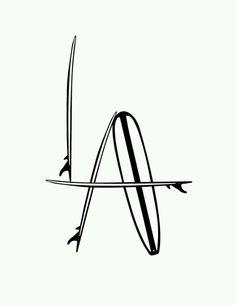 "T Graphic Design By : Trevor Keir Brown ""LA Surf Logo""© Instagram : @tagraphics @trevorkeirbrown TAGraphicsShop@gmail.com"