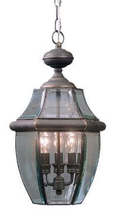 Quoizel NY1179Z Newbury 3-Light Outdoor Hanging Lantern, Medici Bronze by Quoizel. $191.34. From the Manufacturer                Quoizel NY1179Z Newbury 3-Light Outdoor Hanging Lantern, Medici Bronze.                                    Product Description                Size:Medium, Finish:Medici Bronze, Light Bulb:(3)60w B10 Cand C Incand  This is a lovely light source features gently sloping lines that combine well with the more angular lines produced by the glass panels.