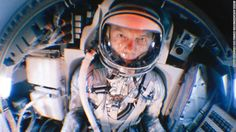UNITED STATES - 1959:  Fish eye view of Project Mercury astronaut John Glenn training in a mock up of the planned space capsule.  (Photo by Ralph Morse/Life Magazine/The LIFE Picture Collection/Getty Images)