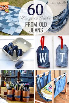 60 Things to Make from Old Jeans @savedbyloves                                                                                                                                                                                 Más