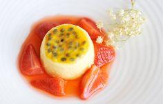 Passion fruit crème with elderflower strawberries