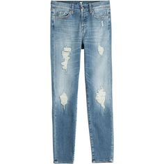Seven for all Mankind Distressed Straight Leg Jeans (307 AUD) ❤ liked on Polyvore featuring jeans, pants, blue, blue ripped jeans, blue jeans, destroyed jeans, slim fit jeans and ripped denim jeans