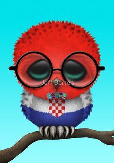 Nerdy Croatian Baby Owl on a Branch by Jeff Bartels