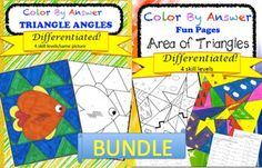 This resource contains two color by answer differentiated products.Color by Answer Area of TrianglesColor by Answer Angles of TrianglesPlease review them individually to know exactly what you will receive with this purchase. Thank you for all that you do to educate and inspire today's youth, we are in this together!Other items you may enjoy:Divide Decimals by a Whole Color PagesMultiply Decimals by a Whole Color PagesAdd and Subtract Decimals Color by AnswerColor by Answer Area of…