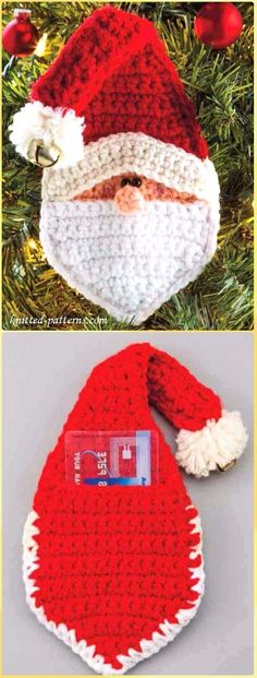 Crochet Santa Christmas Ornament with Gift Slit Free Pattern - Crochet Santa Clause Free Patterns