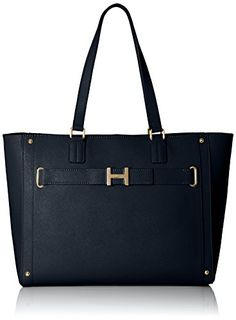 Women's Top-Handle Handbags - Tommy Hilfiger TH Belted Tote Top Handle Bag Navy One Size * You can find out more details at the link of the image.