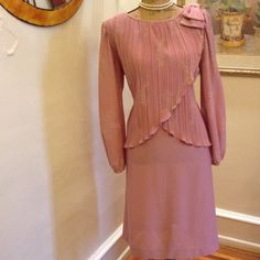 """Evening Dress for a Special Day! By Discovery  Beautiful evening dress. So many wonderful details. Crisscross front with sparkling flower and gathers. The sleeves have same sparkling silver flowers. 32"""" from arm pit to hem. Vintage Dresses"""