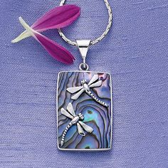 Sterling Silver Abalone Dragonflies Pendant.
