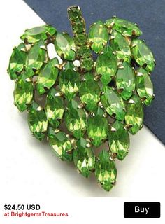 "Fashion Brooch Pin Lime Green Rhinestones Strawberry Leaf Design Gold Metal  2"" Vintage"