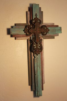 "OKLAHOMA CROSS - Small Wooden Rustic Cross   24"" tall, multi color on Etsy, $75.00"
