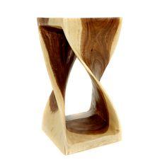Double Twist Stool - Natural Finish - 28cm x 28cm x 50cm