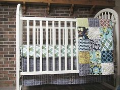 Crib Bedding, 3-piece, Minky Dot quilt, skirt, and fitted sheet, Modern Meadow in Pond, boy / girl, fresh modern handmade, PLUSH for baby