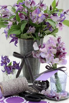Flowers and Ribbons-# 6-Clematis and Sweet Peas-Ingrid Henningsson-Of Spring and Summer