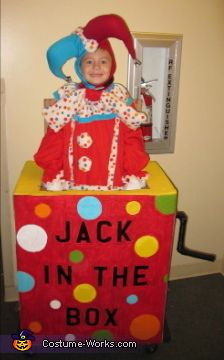 Nichole: Being on a budgetyou have to get creative! This costume costed me $3.65! I got the idea from an old jack in the box I saw at a thrift store...