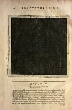 """The primordial darkness (tenebra, lucis absentia) of the universe before creation. In the margins, on the four sides of the square: Et sic in infinitum (""""and like this to infinity""""). Robert Fludd, Utriusque Cosmi Maioris scilicet et Minoris Metaphysica, Physica, atque Technica Historia, 1617, tract. I, Lib.I, p.26. Sources: Echo Project, Max Planck Institute for the History of Science and Cabinet Magazine."""