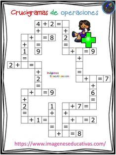 Crucigramas de operaciones sencillas - Imagenes Educativas Math For Kids, Fun Math, Math Games, Math Activities, Teaching Numbers, Teaching Math, Math Skills, Math Lessons, Mathematics Games
