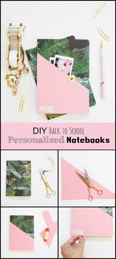 Back to school DIY supplies. Beautifully PersonalizedNotebooks - 40 Easy & Best DIY Back to School Projects - DIY & Crafts School Hacks, School Projects, School School, Back To School Highschool, Diys For School, Back To School Diy For Teens, School Ideas, Diy Crafts For School, School Supplies Highschool