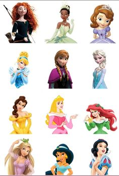 12 Princess 3D Edible Cupcake Toppers por ChrisCakeArt en Etsy