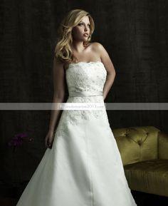 Awesome A-line bretelles chapelle Appliques Floor-Length Plus Size robe de mariée