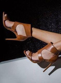 #summer #trending #shoes | Camel Leather Heels
