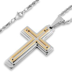 Men's West Coast Jewelry Silvertone and Goldplated Stainless Steel Multiple Layer Cross Pendant, Silver Handcuff Necklace, Men Necklace, Cross Pendant, Stainless Steel, West Coast, Necklaces, Accessories, Jewelry, Silver