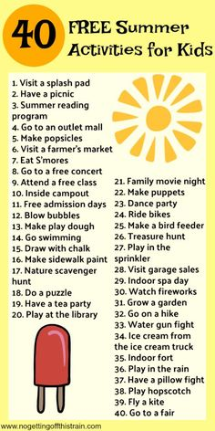 40 Free (And Cheap) Kids Summer Activities – No Getting Off This Train Summer is here! Are you ready to fight the boredom? Here are 40 free and cheap kids summer activities to keep the fun going all summer! Nanny Activities, Babysitting Activities, Free Activities For Kids, Summer Activities For Kids, Camping Activities, Train Activities, Indoor Activities, Babysitting Fun, Camping Games