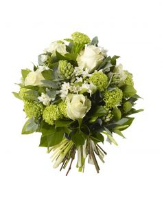 Gelder and White Rose Bouquet -  White Avalanche Roses, Gelder Rose, Hyacinths and Narcisus Paperwhites.